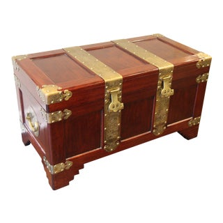 1960s Vintage Malaysian Oriental Wooden Trunk For Sale