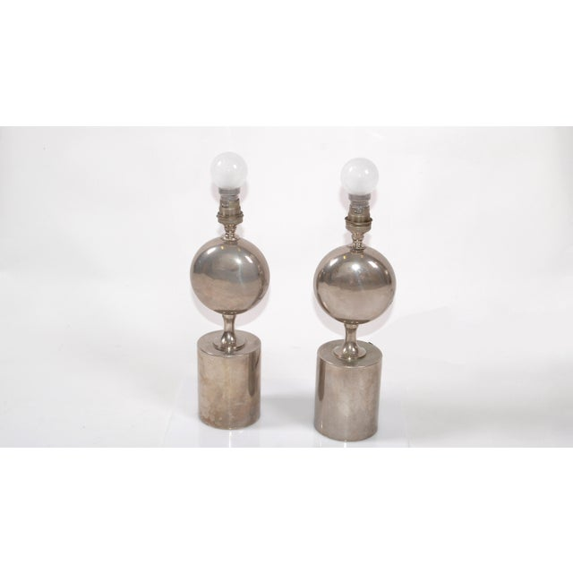 1960s Philippe Barbier Mid-Century Modern Chrome Table Lamps Maison Barbier, Pair For Sale - Image 5 of 8