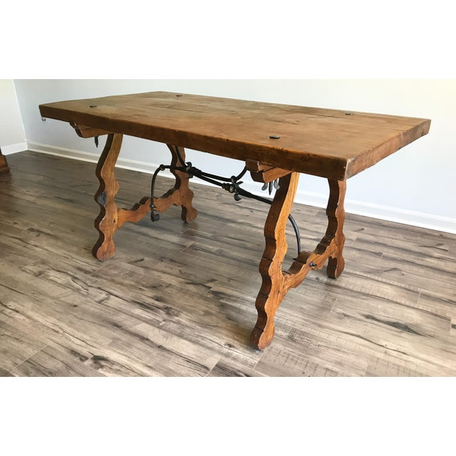 19th Century Spanish Trestle Table Desk With Iron Stretcher For Sale - Image 13 of 13