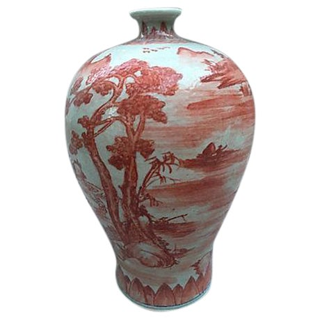 Chinese Hand Painted Coral Village Scene Vase - Image 1 of 6