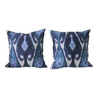 Blue Ikat Linen Cotton Pillows - A Pair For Sale