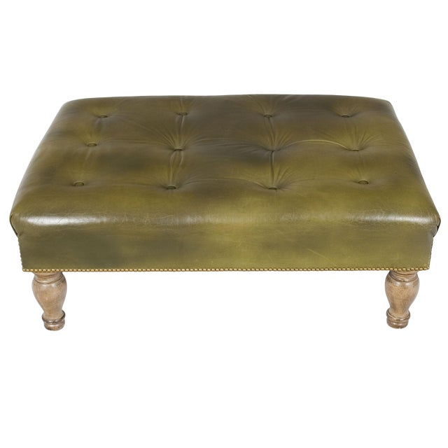 Admirable 1960S Tufted Green Leather Large Ottoman Footstool Alphanode Cool Chair Designs And Ideas Alphanodeonline