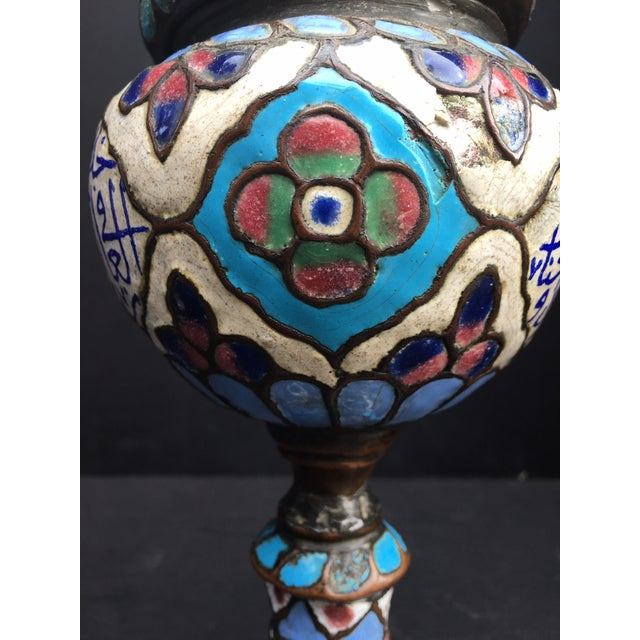 Ancient Islamic Syrian Enameled Copper Vessels - a Pair For Sale - Image 10 of 11
