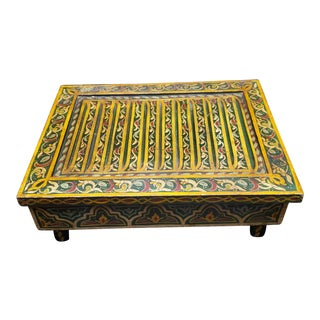 Moroccan Low Carved Wooden Table For Sale
