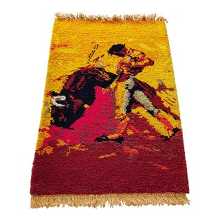 1960's Plush Cotton Bullfight Pictorial Rug- 3′ × 4′10″ For Sale