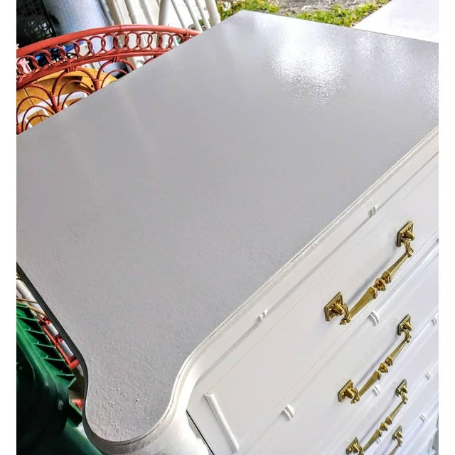 Vintage Henry Link Bali Hai Palm Beach Regency White High Gloss Tall Lingere Dresser Chest For Sale In West Palm - Image 6 of 9