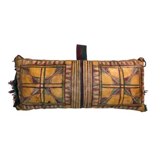 Vintage Tuareg Naturally Dyed Leather Camel Saddle Pillow, Morocco, Africa For Sale