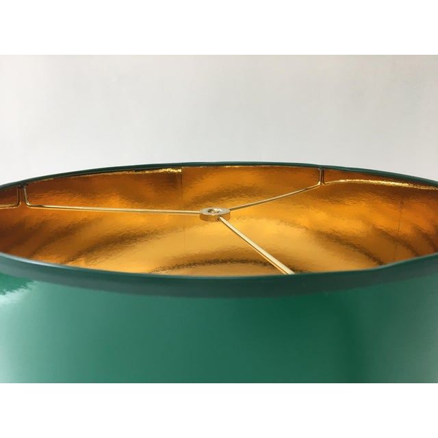 Not Yet Made - Made To Order Large High Gloss Dark Green Drum Lamp Shade With Gold Lining For Sale - Image 5 of 6
