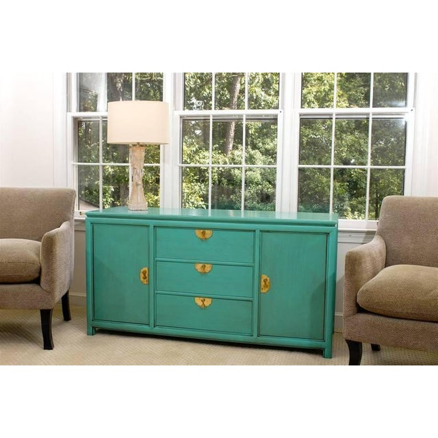 Thomasville Fabulous Vintage Buffet by Thomasville in Turquoise Lacquer For Sale - Image 4 of 11