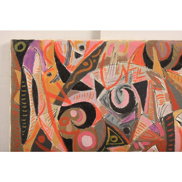 1981 Abstract composition made up of dynamic shapes in a warm color palette featuring a variety of zoomorphic figures....