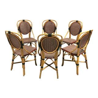 French Bistro Chairs Bamboo Rattan—Set of 6 For Sale