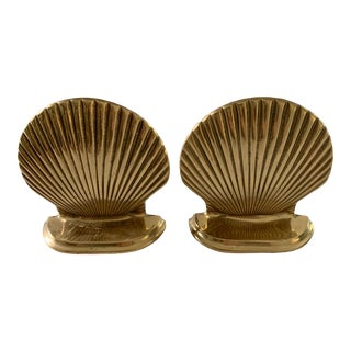 Vintage Windcurrent Collection Solid Brass Seashell Bookends - a Pair For Sale