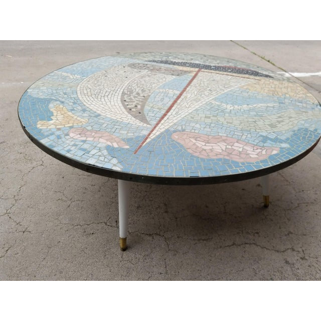 Metal Exceptional Mosaic Tile Coffee Table With Sail Boat For Sale - Image 7 of 13