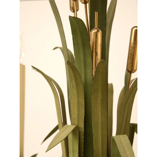 Vintage Continental 6-Light Metal Cattail Chandelier For Sale - Image 9 of 11