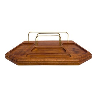 20th Century Wood and Brass Desk Organizer With Letter Rack and Pin Holder For Sale