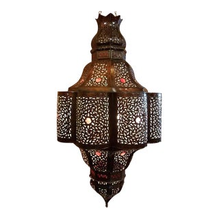 Turkish Moroccan Handmade Metal Lantern With Multi-Color Glass