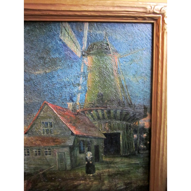 1920s 1920s Oil on Canvas Palette Knife Painting of Dutch Fishing Village Scene by Chicago Wpa Artist George Hruska For Sale - Image 5 of 8