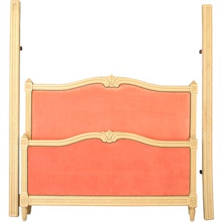1920 French Bed Full-Sized Louis XVI Cream Wood For Sale