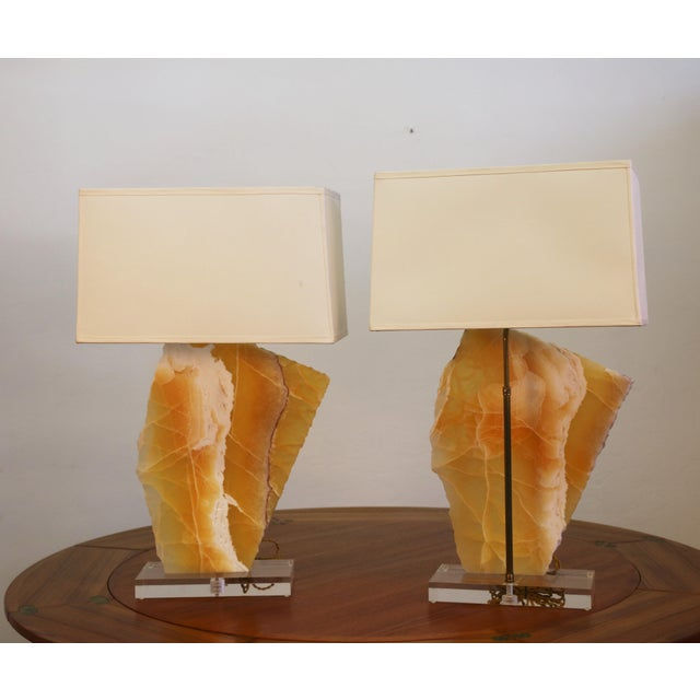 1980s Beautiful Pair of Modern Yellow Marble Table Lamps For Sale - Image 5 of 8
