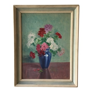 Still Life Floral in Blue Vase Framed Acrylic Painting on Board