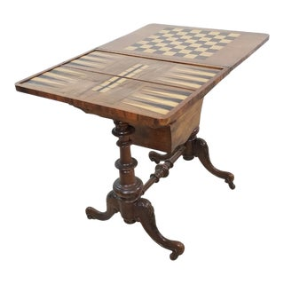 Antique Inlaid English Game Table For Sale