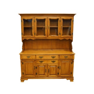 """Tell City Solid Hard Rock Maple Colonial Style 60"""" Buffet W. China Cabinet Hutch 8379 - 48 Andover Finish For Sale"""