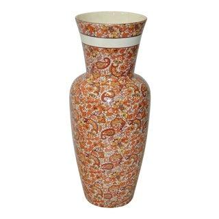 Large Vintage Paisley Pattern Transferware Ceramic Vase Lota, Chile C.1970 For Sale