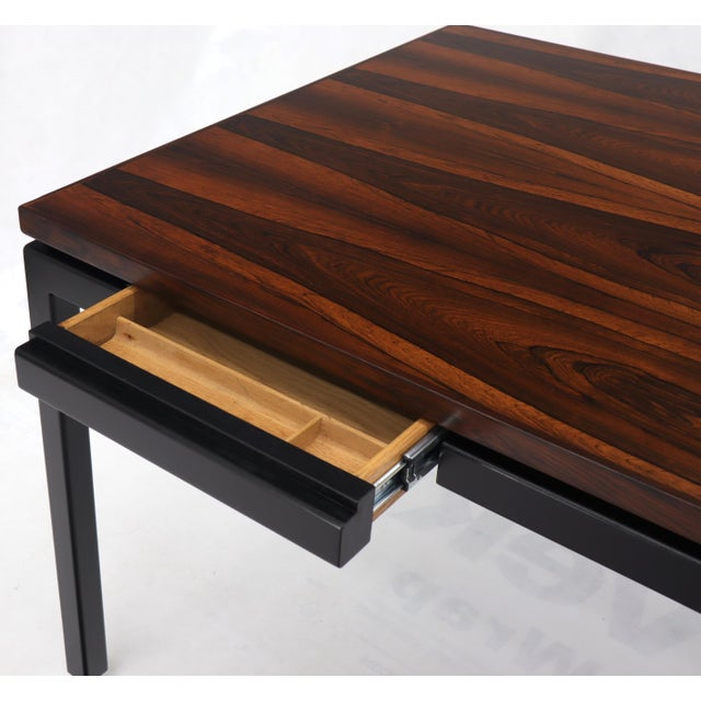 Dunbar Vivid Rosewood Grain Low Profile Mid Century Modern Desk Writing Table. For Sale - Image 9 of 13