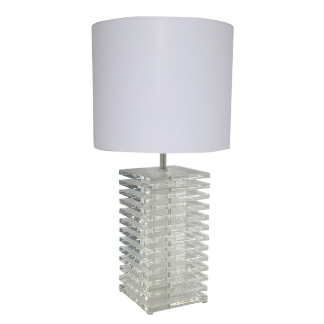 GIANT STACKED-LUCITE TABLE LAMP For Sale