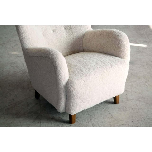 High Back Lounge Chair in Lambswool Danish 1940's Attributed to Flemming Lassen For Sale - Image 9 of 11