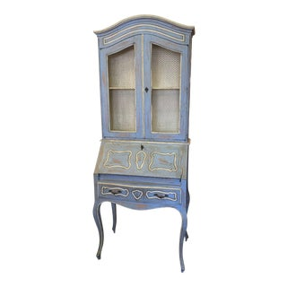 Vintage French Country Gustavian Blue Drop Front Secretary For Sale