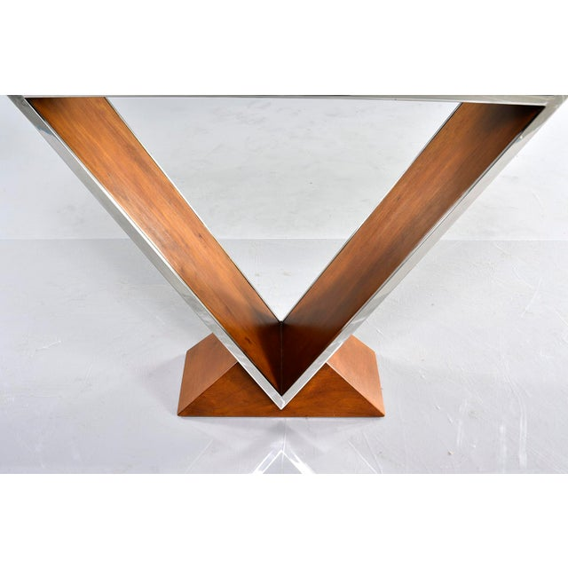 Brazilian Teak and Chrome Console With Triangular Base For Sale In Detroit - Image 6 of 13