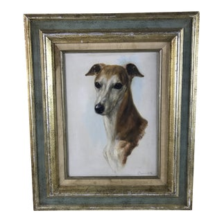 1980s Portraiture Framed Oil Painting of Greyhound Whippet by Dawne Hill