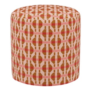 Drum Ottoman in Pink Geo For Sale
