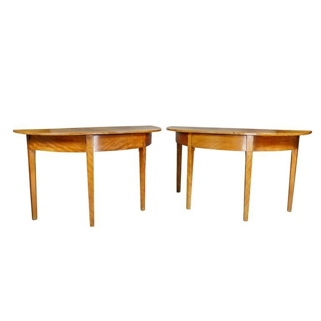 Pair of Neoclassic Birch Demilune Console Tables For Sale - Image 10 of 10