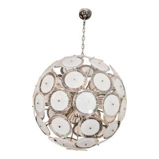 Large Murano White Disc Sputnik Chandelier