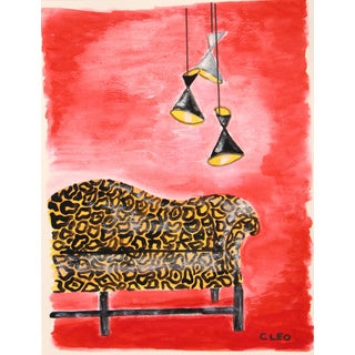 Mid Century Modern Interior Animal Print Painting by Cleo For Sale