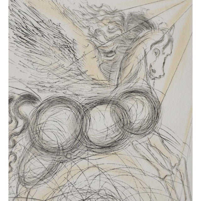"""Paper Salvador Dali """"Pegasus"""" Reverse Plate Signed Etching C.1970s For Sale - Image 7 of 8"""