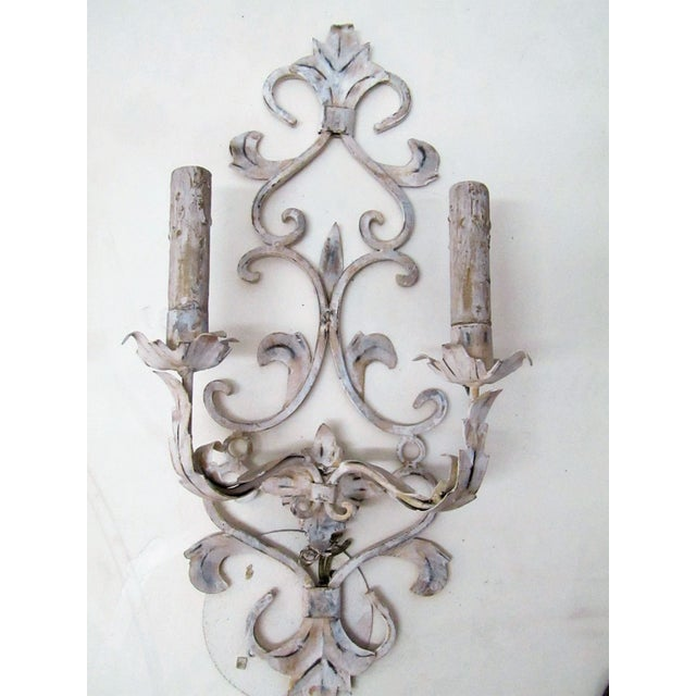 Shabby Chic Vintage Whitewashed Metal Hardwired Decorative Sconces - A Pair For Sale - Image 3 of 5