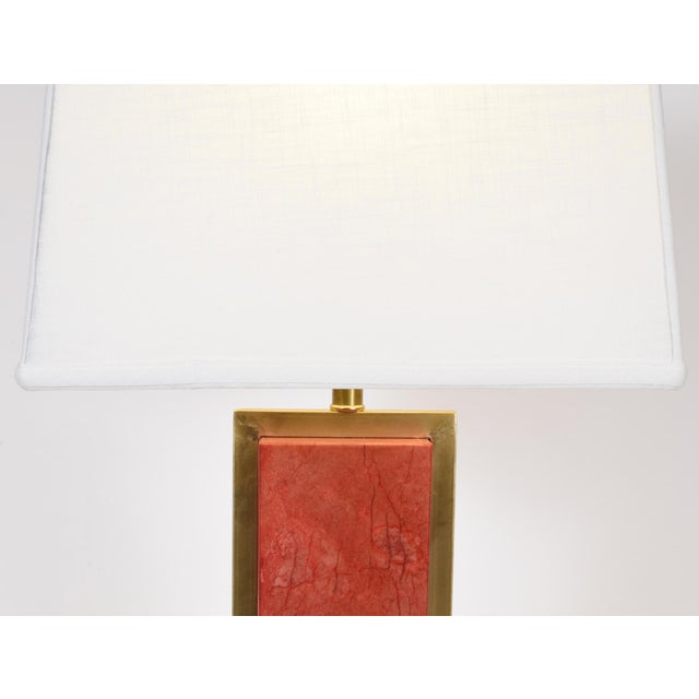 Orange Jade Table / Task Lamps With Brass Accents - a Pair For Sale In New York - Image 6 of 8
