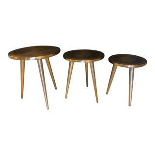 1990s Mid-Century Modern Style Brass Decorative End Tables - Set of 3 For Sale