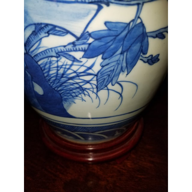 1970s Vintage Chinese Hand Painted Blue and White Table Lamp With Cranes and Flowers For Sale - Image 5 of 6