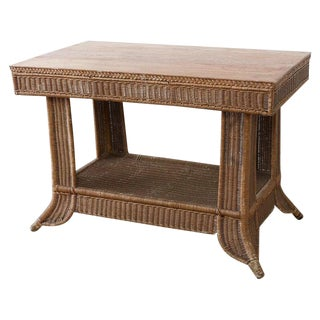 Heywood Wakefield American Misson Wicker Rattan Library Table For Sale