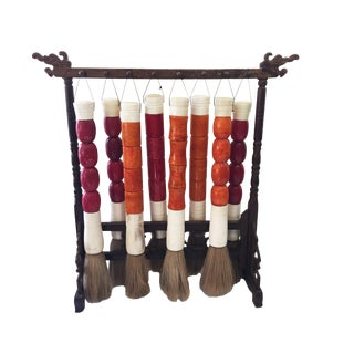 Calligraphy Brushes W/Wood Stand S/8