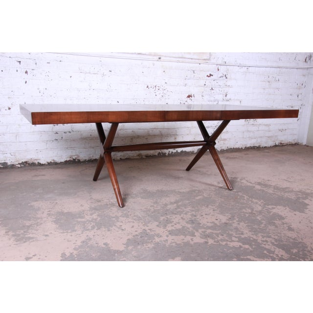1950s Robsjohn Gibbings for Widdicomb X-Base Walnut Dining Table, Newly Restored For Sale - Image 5 of 11