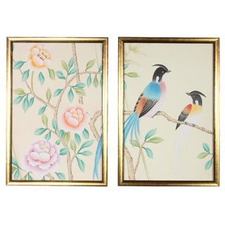 Hand-Painted Chinoiserie Diptych on Pale Buttercream Silk - 2 Pieces For Sale