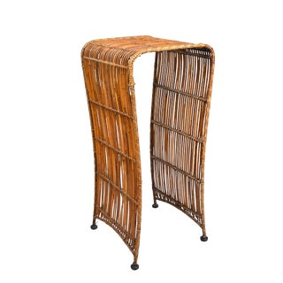 Mid-Century Modern Tall Bamboo Side Table or Plant Stand