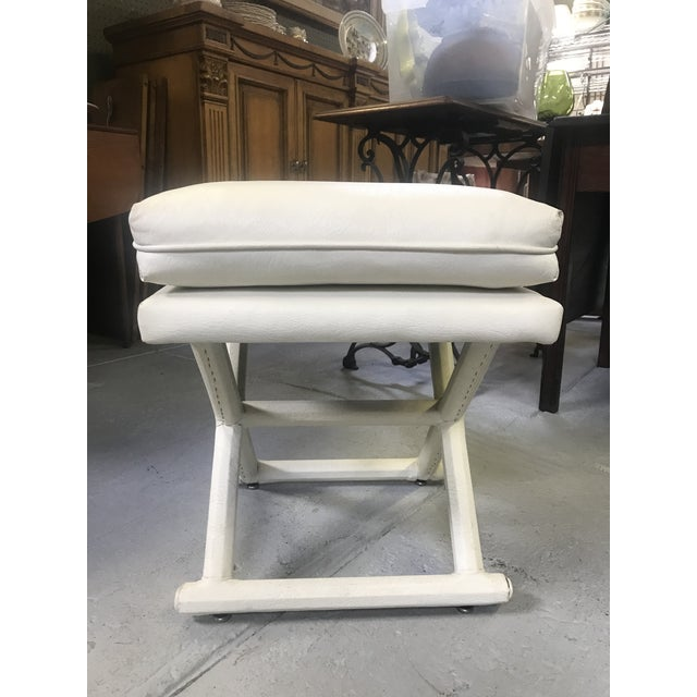 Mid-Century Modern White Leather X Base Benches - a Pair For Sale - Image 3 of 13