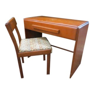 Vintage Mid Century Modern Russel Wright for Conant-Ball, American Modern Wood Desk and Chair - 2 Pieces For Sale