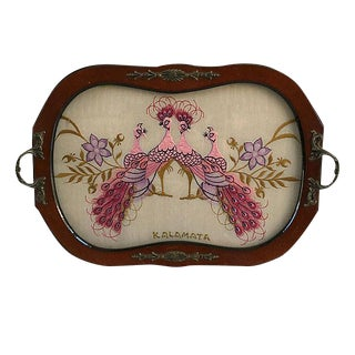 Vintage Encased Silk Peacock and Wood Tray For Sale